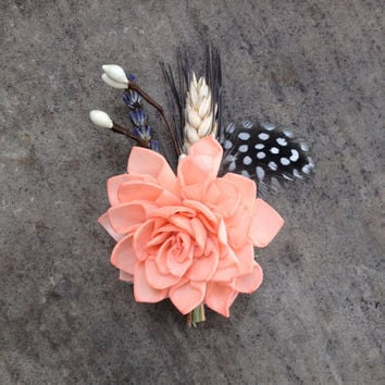 Handmade Wedding Boutonnieres - Coral Sola Flower, Wheat Boutonnieres, Feather Boutonnieres, Lavender, Berries, Hemp Rope, Rustic