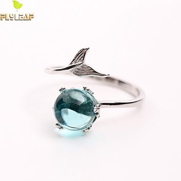 Flyleaf Brand 100% 925 Sterling Silver Blue Crystal Mermaid Bubble Open Rings For Women Creative Fashion Jewelry