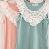 Ruffle Collar Lace Embroidered Top Pink