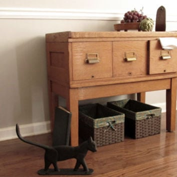 Large Oak Library Card Catalog. File Table. GOP.HAM Trademark 1919. Tiger Oak.