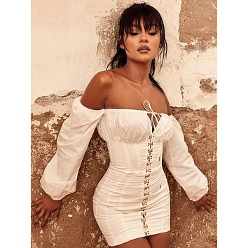 Veronica White Off Shoulder Sensual Dress