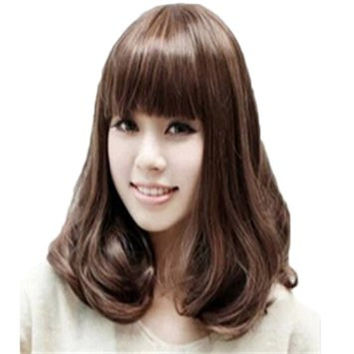 Female Short Pear Head Slightly Curled Wig Hair Neat Bangs