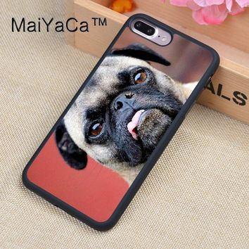 MaiYaCa Funny Pug Puppy Dog Rubber Phone Case For iPhone 7 Plus Soft TPU Back Cover Coque For iPhone 7Plus Case