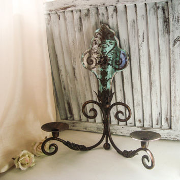 Antique Gold Fleur De Lis Rustic Candle Holder, Double Pillar Metal Candle Holder, Wall Sconce, French Country, Paris Chic Candle Holder