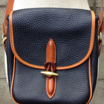 Dooney and Bourke Purse Vintage 1980s Navy Blue and Carmel Brown Leather Bag Handbag