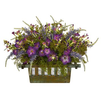 Artificial Flowers -Morning Glory Arrangement in Decorative Planter