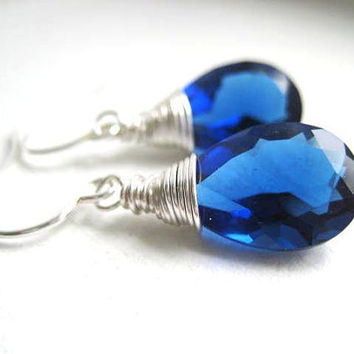 Kashmir Blue Quartz Faceted Pear Cut Stone by JulieEllynDesigns