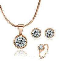18K Rose Gold Plated Sun Flower Simulated Diamond Necklace And Ring And Earring Jewelry Use Austrian Crystal Bridal Sets