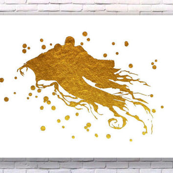 Dementor Harry Potter Gold Art Print Instant Download Printable White Edition