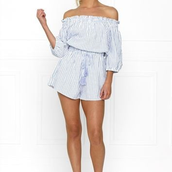 Honey Couture SALLY Off Shoulder Blue White Stripe Tassle Playsuit