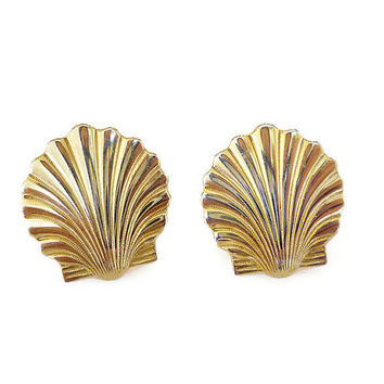 Anson Cufflinks, Clam Shell, Beach Ocean, Gold Tone, Art Deco Style, Mens Accessories, Vintage Jewelry