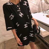 """""""Chanel"""" Women Casual Fashion Backless Hollow Print Letter Logo Short Sleeve Loose T-shirt Top Tee"""