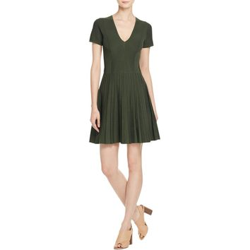 Parker Womens Knit Pleated Casual Dress