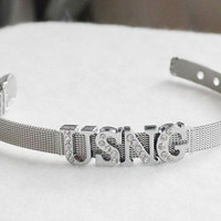 USNG MOM United States National Guard Bracelet Wholesale Stainless Steel Mesh Silver