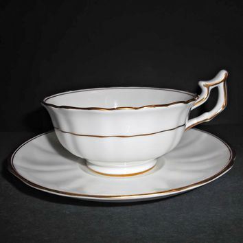 Antique Cauldon Ltd White Fluted with Gold Gilt Cup Saucer Sets - 7