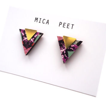 Triangle Earrings Geometric Earrings Laser Cut Wood & Brass Geometric Jewellery Triangle Jewellery - Multi Pattern