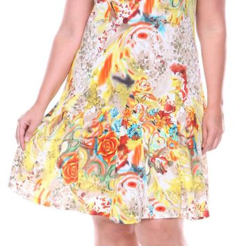 Plus Size Large Floral Print Dress Yellow Sundress Fit/Flare