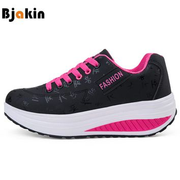 Bjakin Outdoor Women's Sneakers 2018 New Arrival Breathable Running Sport Wedges Sneakers Shoes for Female High Heel Footwear