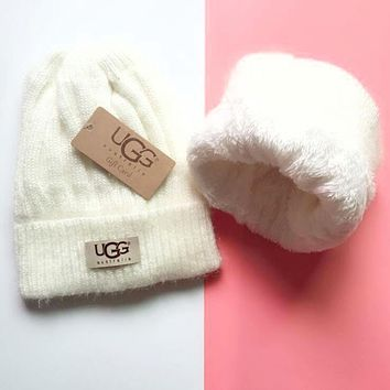UGG Winter Hot Sale Trending Women Men Thick Knit Hat Warm Cap Beige White