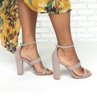 Date Night Open Toe Heels In Taupe