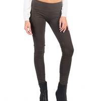 Suedette Panel Leggings - Olive - Small
