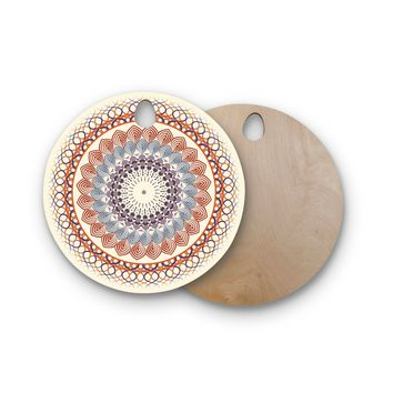 "Famenxt ""Vintage Mandala"" Yellow Multicolor Round Wooden Cutting Board"