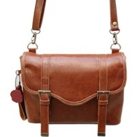 HAOdiy New Classic Vintage Casual Brown Shoulder Pu Leather Camera Bag for Digital Cameras