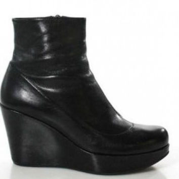 Marc Jacobs Black Leather Wedge Ankle Boot Bootie Size 9 Regular (M, B) Orig. $495!