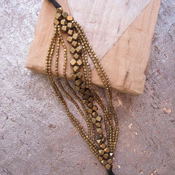 Geometric Brass Beaded Bracelet