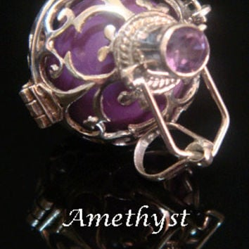 Sterling Silver Harmony Ball Bola Necklace with AMETHYST Gemstone on 925 Cage with a Purple Chime Ball | Pregnancy Gift, Angel Caller 443