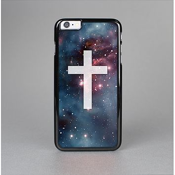 The Vector White Cross v2 over Bright Pink Nebula Space Skin-Sert for the Apple iPhone 6 Plus Skin-Sert Case