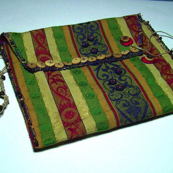 Handmade Clutch Purse with Beaded Hemp by BrandonArtists on Etsy