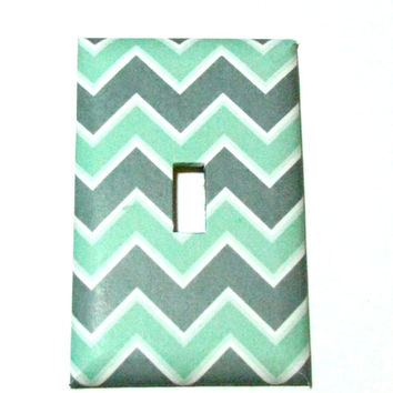 Light Switch Cover - Light Switch Plate Mint Green Gray White Chevron