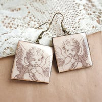 Angel earrings - Valentine gift for her by CitrusCat on Etsy