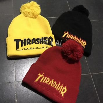 THRASHER Fashion Solid Color Winter Knit Wool Beanies Hat Cap