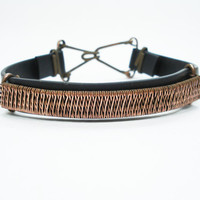 Copper wire weaving mens bracelet, wire weaving bracelet, mens bracelet, silicone rubber, wire weaving, copper mens bracelet, mens jewelry