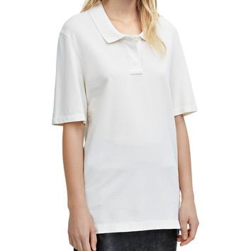 Acne Studios Teresa Piqué Off-White Short Sleeve Polo Top