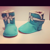 Hand Painted Tiffany & Co Bow Kids Uggs Snow Boots Swarovski Tiffany Blue Shoes Flats tiffany and co