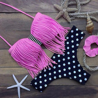 Dots Tassel Bikini Set Beach Swimsuit Gift 85