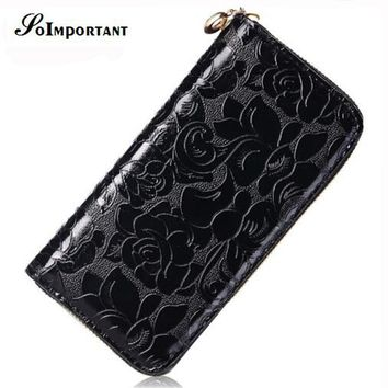 Flower Wallet Female Leather Women Wallets Purse Portomonee Floral Luxury Brand Long Zipper Walet Card Holder Perse Clutch Handy