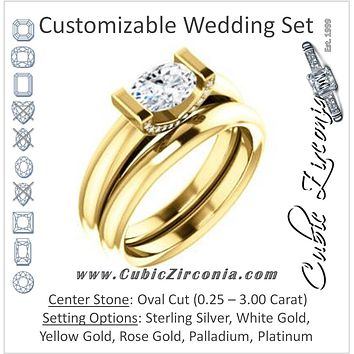 CZ Wedding Set, featuring The Tory engagement ring (Customizable Cathedral-style Bar-set Oval Cut Ring with Prong Accents)
