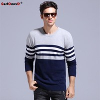 GustOmerD 2017 Classic Strip 100% Cotton Sweater Men O-neck Slim Fit Knitting Pullover Men Casual Mens Sweaters And Pullovers