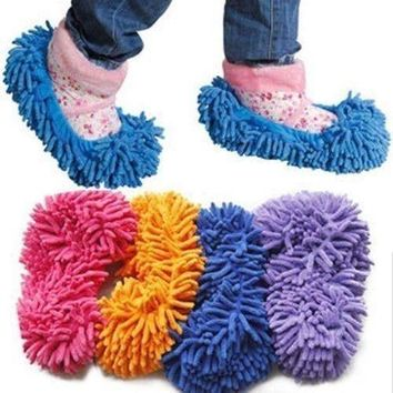 Mop Slippers Cleaning Foot Socks Shoe Lazy Quick House Floor Polishing US STOCK