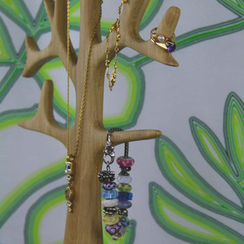Tall Jewelry and Necklace Tree organizer and display in Solid Oak Wood - Matt Lacquer Finish