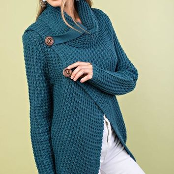 Crisp Fall Air Cowl Neck Sweater - Teal
