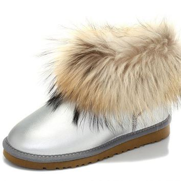ESBON UGG Fox Crystal Women Fashion Casual Wool Winter Snow Boots Silvery