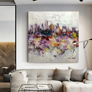 New York Cityscape Abstract acrylic painting on canvas extra Large Wall Art Decor for living bathroom room Purple Original cuadro abstractos