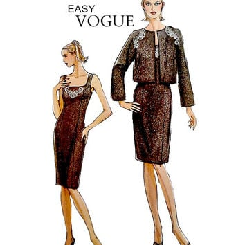 Very Easy Vogue Pattern V8282 Sheath Dress Jacket Low Scoop Neckline Princess Seams Sewing Patterns Uncut Size 6 8 10 12