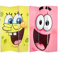 Oriental Furniture CAN-NSB-631 Six Ft. Tall Double Sided SpongeBob Canvas Room Divider, Width - 42.25 Inches