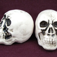 Bone Shaker - Vintage Skull Salt & Pepper Shakers, Fun Halloween Decor or Macabre Tableware, Ceramic Skeleton Heads Spook Your Guests